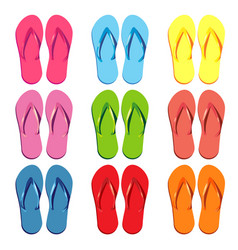 set of colored slippers for the beach vector image