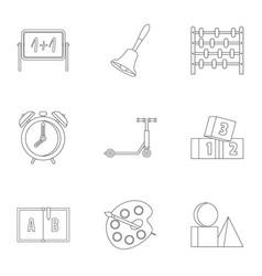 kindergarten icons set outline style vector image