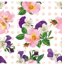 seamless pattern bouquet of roses and forget me vector image vector image