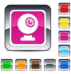 webcam square button vector image