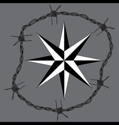 Barbed wire circle frame windrose navigation symbo vector image vector image