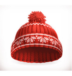 Red winter knitted hat 3d icon vector image vector image