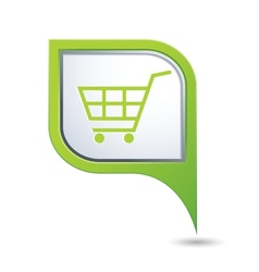 shop basket on green map pointer vector image