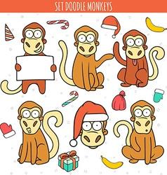 Year of red monkey Doodle set monkeys Chinese vector image