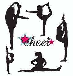 cheerleader silhouette set vector image