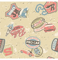 Kids racing badges elements vector image