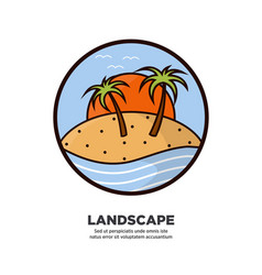 landscape scenery design with palms growing on vector image