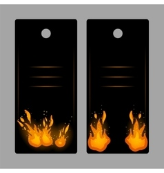 Vertical banners-tags with fire vector image