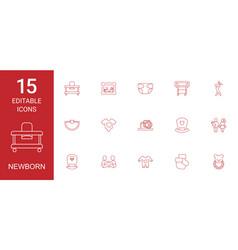 15 newborn icons vector image