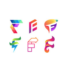 Abstract letter f logo set letter f logo vector