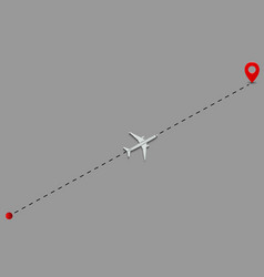 airplane route dotted lines vector image