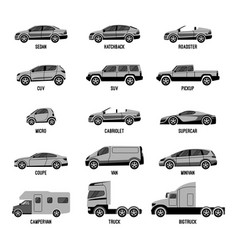 Automobile set isolated car models of different vector