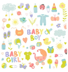 Baby Boy or Girl Design Elements vector image