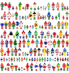 Background flag people patterns vector image