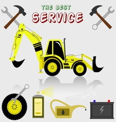 Best service and diagnostics backhoe loader vector