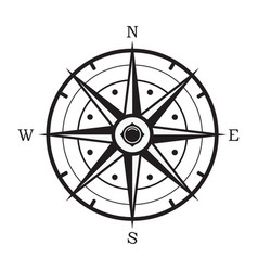 black and white compass vector image