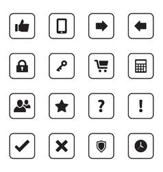Black flat miscellaneous icon set vector