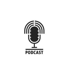 Black simple podcast logo with speaker vector
