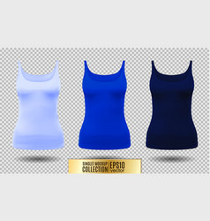 blank sport tank top for women template set vector image