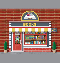 bookstore shop exterior books shop brick building vector image