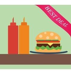Burger with ketchup and mustard vector