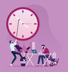 Businessman move clock hands to change time vector