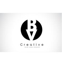 Bv letter logo design inside a black circle vector