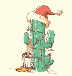 cactus christmas in red santa hat and cowboy vector image