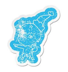 Cartoon distressed sticker of a amazed boy vector