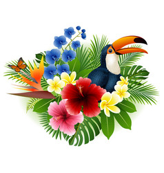 Cartoon toucan butterfly with flower background vector