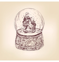 christmas snow globe hand drawn vector image