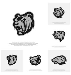 collection of bear logo design modern vector image
