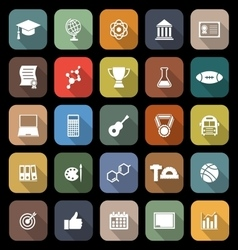College flat icons with long shadow vector