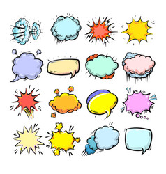 Comic speech bubbles isolated cute hand drawn vector