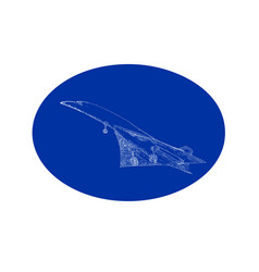Concorde supersonic jet drawing oval vector