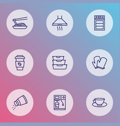 Cook icons line style set with kitchen gloves vector