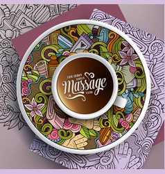 cup of coffee and massage doodles on a saucer vector image