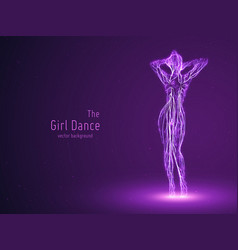 dancing girl constructed with violet lines vector image