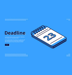 deadline time management isometric landing page vector image