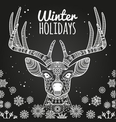 Deer and snowflakes winter holiday card template vector