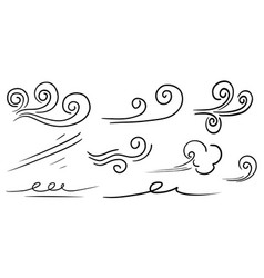 Doodle of wind gust isolated on a white vector
