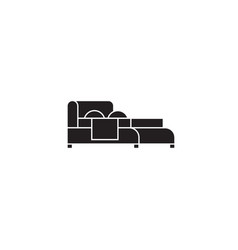 double bed black concept icon double bed vector image