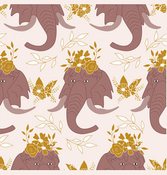 Elegant flowers leaves and mammoths in a seamless vector