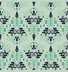 Ethnic geometric mint green summer seamless vector