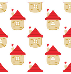 Fairytale houses and hearts pattern vector