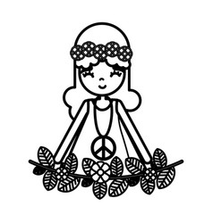 Figure hippie woman peace and love vector