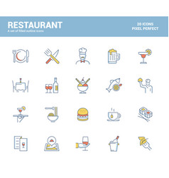 flat line filled icons design-restaurant vector image
