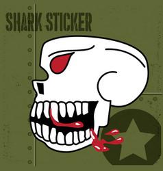 flying tiger skull blood sticker vinyl vector image