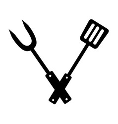 fork and spatula utensils on white background vector image
