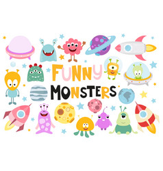 funny monsters space set vector image